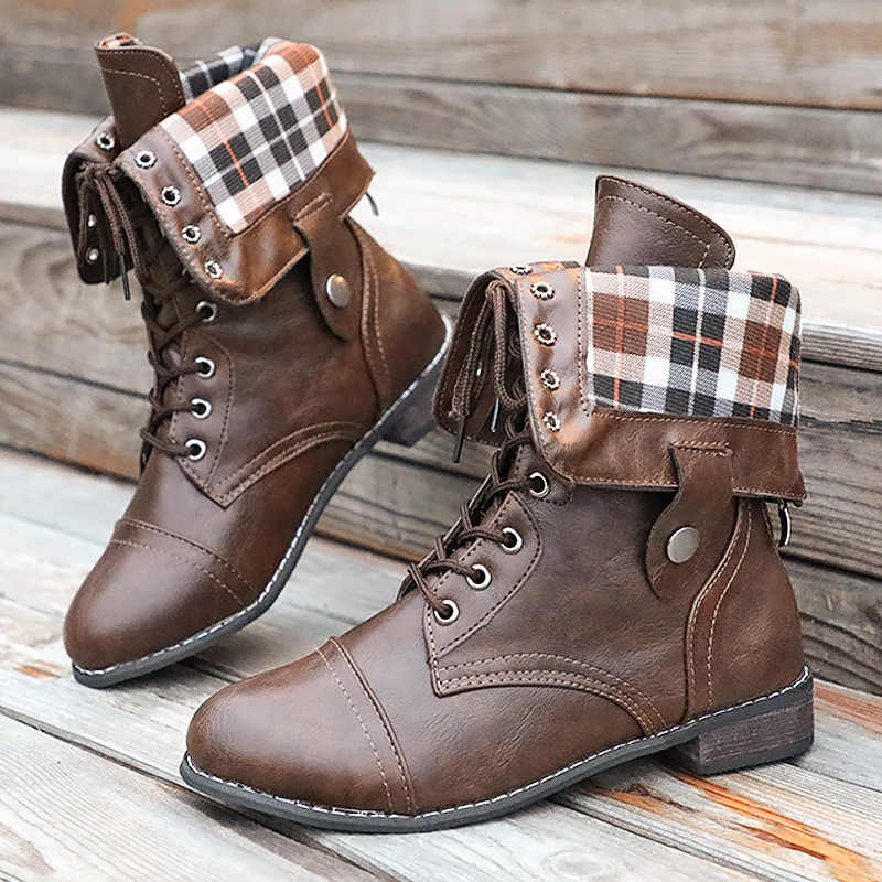 Vrouwen Martin laarzen Warme Winter schoenen Waterdicht Mid kuit Laarzen voor Dames Naaien antislip Botas Mujer Invierno plus Size 35-43