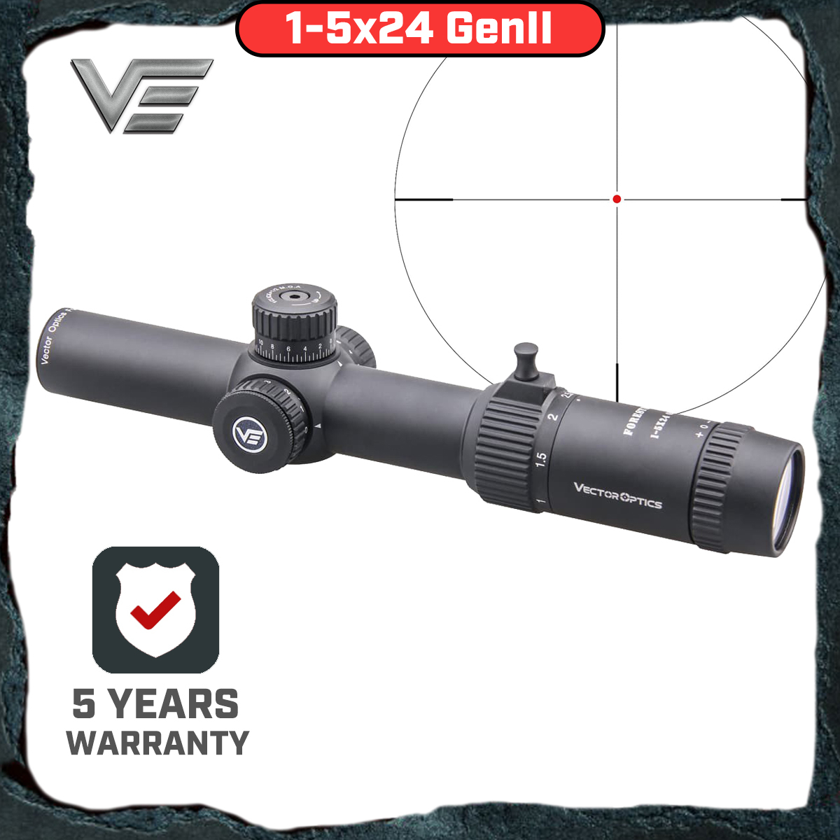 Vector Optics GenII Forester 1-5x24 Riflescope Center Dot Illuminated Air Soft Scope Hunting Rifle Scope Air Gun AR15 Scope image