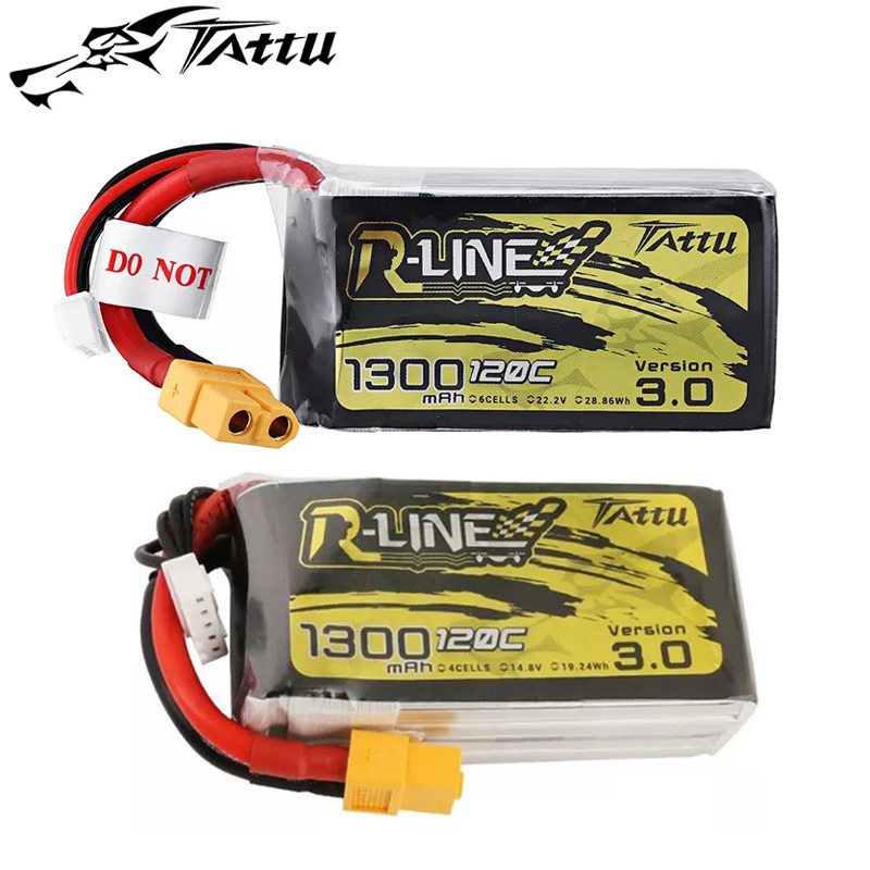 New Tattu R-line Version 3.0 14.8V 22.2V 1300mAh 120C 4S 6S Lipo Battery with XT60 Plug for FPV RC Drone Quadcopter image