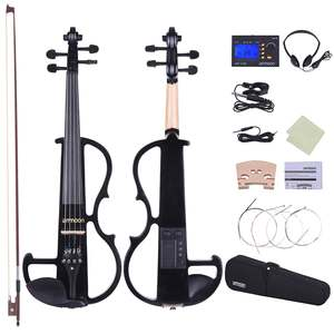 Ebony Pegs Fingerboard Ammoon Silent Violin Solid-Wood Electric Full-Size Fiddle Chin-Rest-Tailpiece