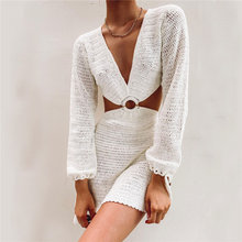 Fashion 2021 Summer Backless Sweat Knitted Hollow Out Multiple Colour Loose Dress Sexy Women Beach Party Mini Long Sleeve Dress
