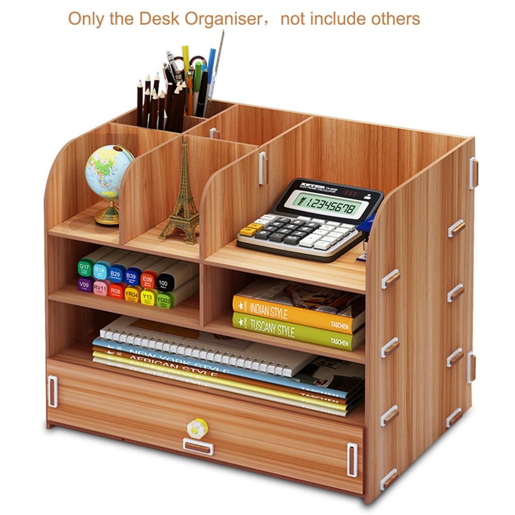 Large Multi-Function DIY Desktop Storage Box Wooden Office Multi-layer File Rack Supplies File Book Organizer Bookshelf