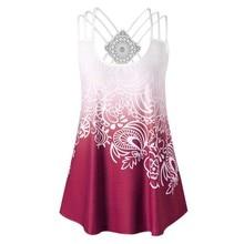 2019 Summer T-shirt Lace Decoration Women Plus Size Fashionwomen Sleeveless U-Neck Floral Printing Casual Vest T-Shirt