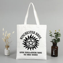 Fashion TShirt Supernatural Winchester Bros Saving People Things Tote Bag Unisex Canvas Bags Shopping Bags Shoulder Bag Foldable(China)