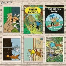 Vintage Adventures of TinTin Poster estrellas Post Card Classic lienzo pinturas pared carteles pegatinas decoración del hogar regalo