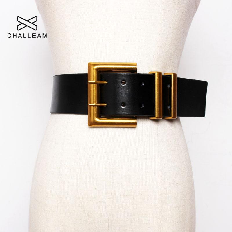 Fashion Women Wide Belt Gold Big Mental Double Pin Buckle Female Black PU Leather Belts Dress Coat Waist Corset Strap 203