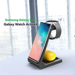 3 в 1 QI Беспроводное зарядное устройство для samsung S10 Plus 10 Вт Быстрое зарядное устройство беспроводная док-станция держатель для samsung Watch Galaxy Buds