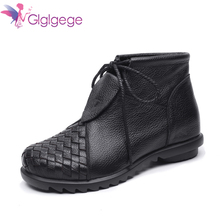 Glglgege Weaving Ankle WoMen Boots Fashion Winter Warm Shoes Black Casual Snow Boots Lace Up Genuine Leather Short Plush Boots недорого