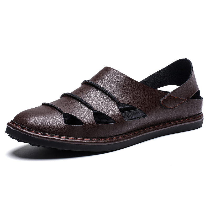 Mens Sport Sandals Leather Casual Shoes Driving Loafers Outdoor Flats Breathable Fisherman Oxford Walking Summer Handmade Stitching Comfortable