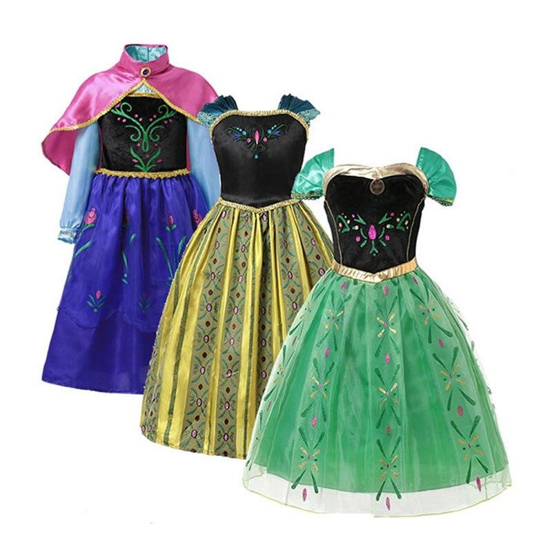 Платье Эльзы и Анны для маленьких девочек; Зеленое платье; Детская одежда для костюмированной вечеринки; Вечерние платья Анны с цветочной в...
