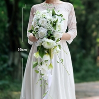 Promotion! White Cascading Bridal Bouquets Artificial Rose Orchid Artificial Silk Flower Handmade Wedding Bouquet