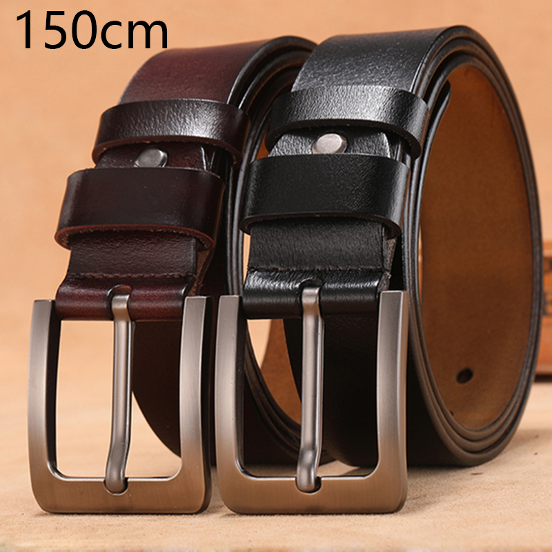 150 170cm Genuine Leather Men's Leisure   Belt   Retro Pin Buckle Good Quality Large Size Male   Belts   Luxury Designer   Belt   Mens Gifts