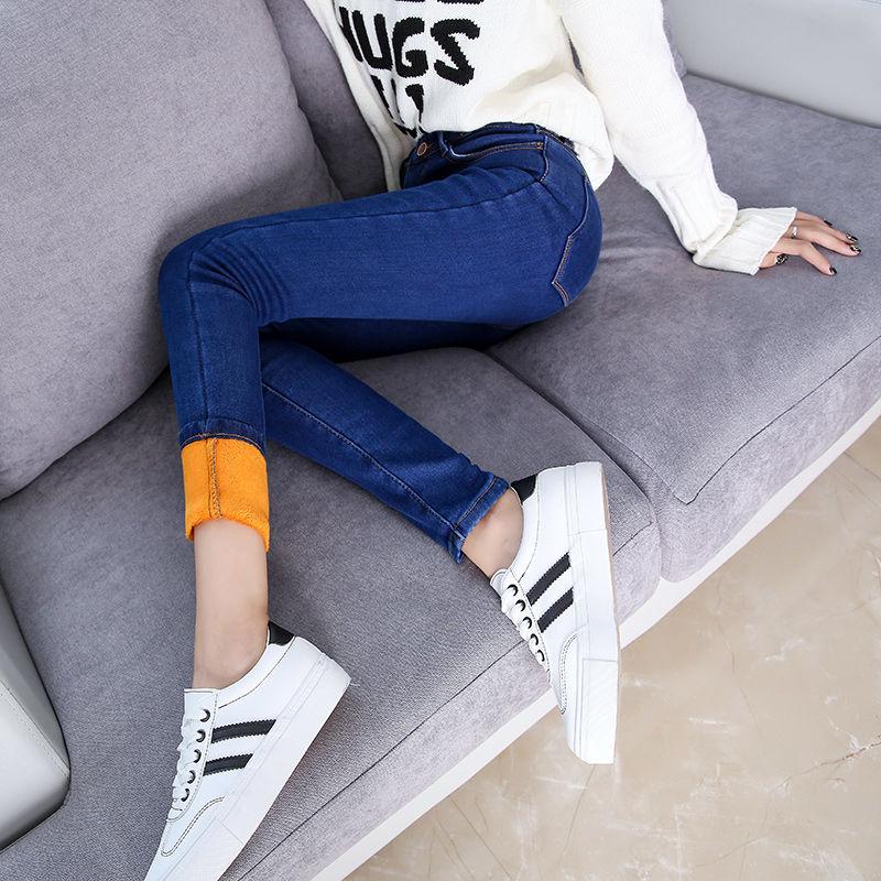 2019 Winter Jeans Women Fleeces Inside Thickening Denim Pants High Waist Warm Trousers Female Snow Jeans Pants