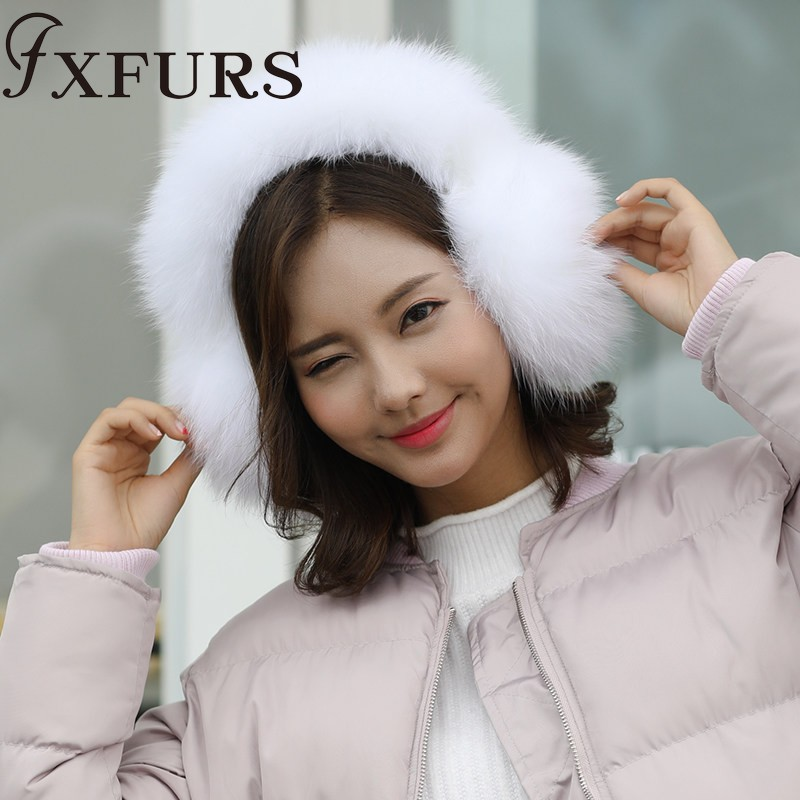 2019 Women Super Warm Fox Fur Earmuffs Whole Fur Earflaps Raccoon/ Fox Fur Ear Muff Girls Russia Soft Earprotector Snow Skiing