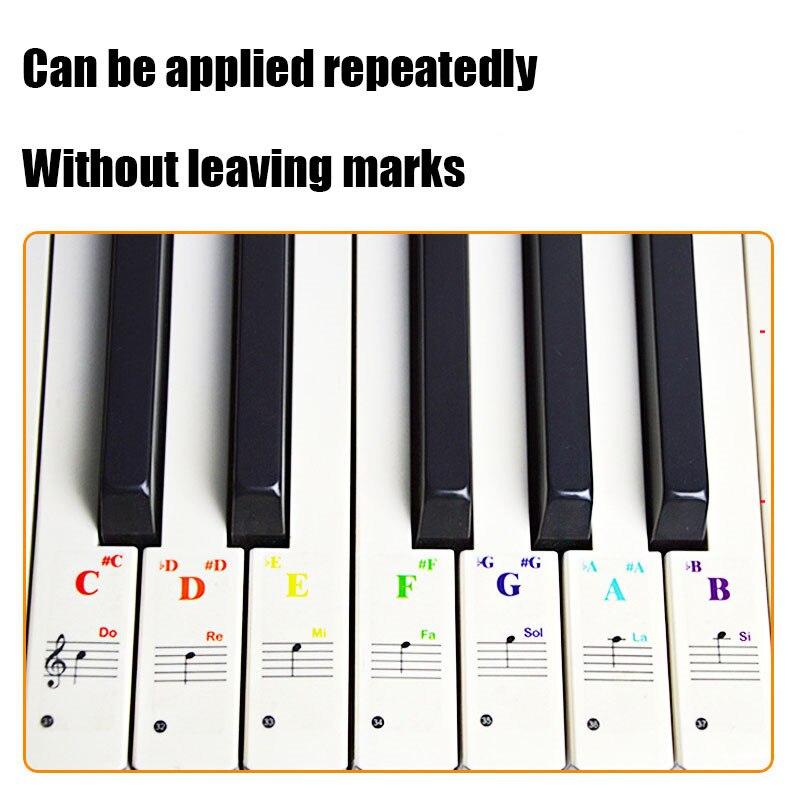Keyboard Sticker Transparent Piano 88/61/49/37 Key Electronic Keyboard Piano Sticker Piano Stave Note Sticker For White Keys
