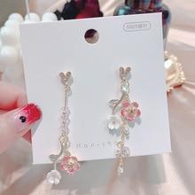 925 agujas de plata estilo japonés elegante Delgado dulce Rosa Cerezo rama colgante pendientes de mujer joyería de cristal delicado