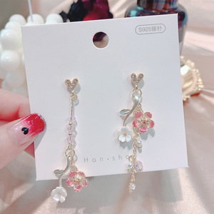 HHSPPF XY 2020 Japanese Style Elegant Thin Sweet Pink Cherry Tree Branch Pendant Earrings Women's Delicate Crystal Jewelry(China)