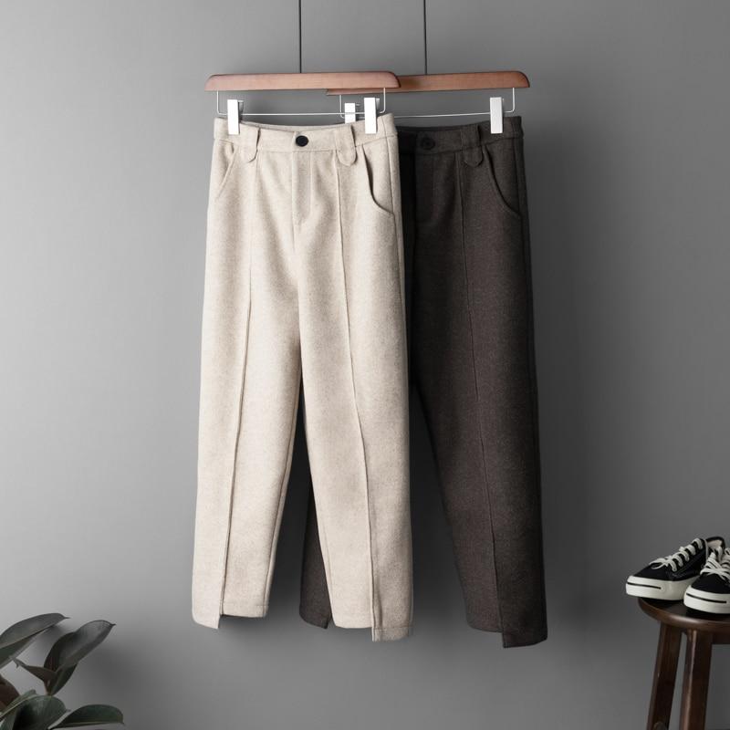 Woolen   Pants   Women Winter Thick Casual Trousers High Waist Ankle Length Warm Wool Harem   Pant     Capri   Beige