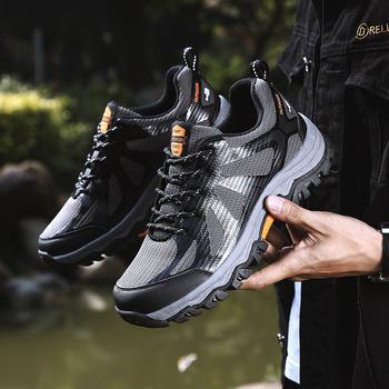 Męskie buty górskie oddychające buty górskie odkryte buty górskie antypoślizgowe odporne na zużycie męskie sportowe buty tanie i dobre opinie faaodoen Podstawowe CN (pochodzenie) Mesh (air mesh) ANKLE Dla dorosłych Wiosna jesień Niska (1 cm-3 cm) 39-45 Lace-up