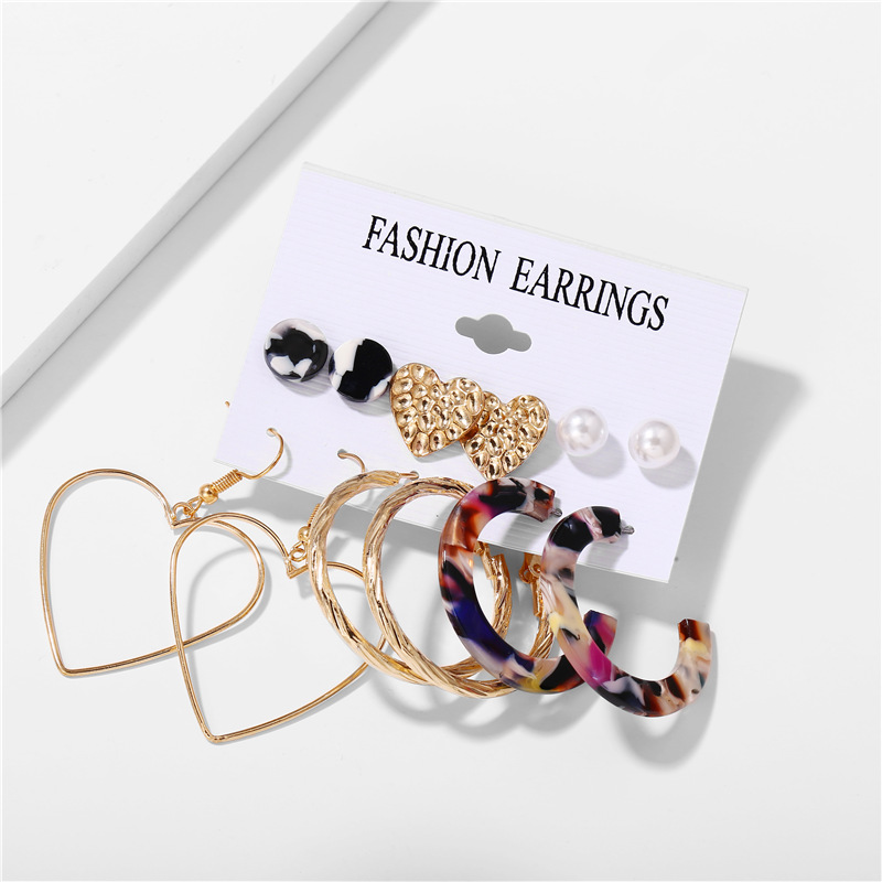 H6a68052ec852406cb063f11d8b9838f93 - IF ME Fashion Vintage Gold Pearl Round Circle Drop Earrings Set For Women Girl Large Acrylic Tortoise shell Dangle Ear Jewelry