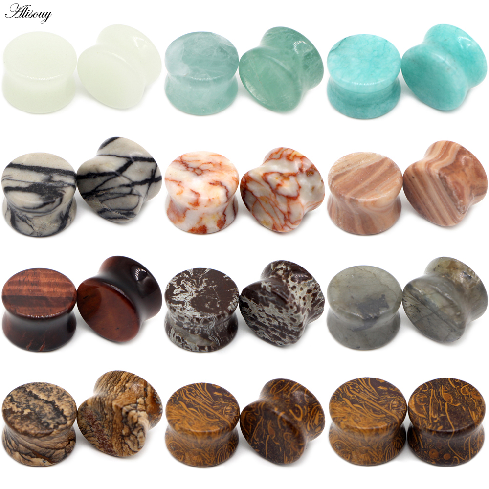 Natural Organic Stone Flared Ear Plugs Tunnel Expander Stretcher Stud Jewelry