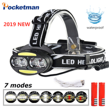 10000 LM LED headlamp 4* T6 +2*COB+2*Red Headlamp Waterproof Flashlight Rechargeable Torch Lantern with battery