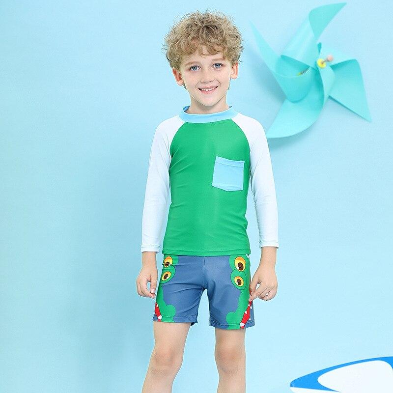 BOY'S CHILDREN'S Swimwear Small CHILDREN'S Baby Cute Cartoon Crocodile Long Sleeve Sun-resistant Quick-Dry Boxers Hot Springs Sw