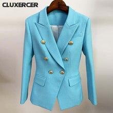 Женский элегантный Блейзер небесно голубого цвета для офиса