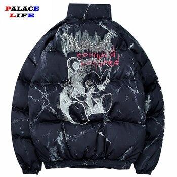 Hipster Winter Down Jacket Men Cartoon Bear Print Parka Men Hip Hop Streetwear Winter Thick Warm Jackets Coats Men Clothes