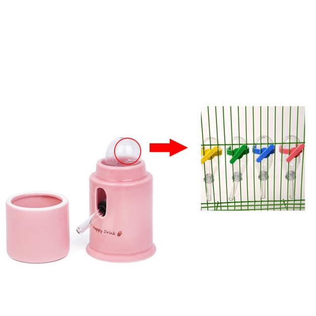 Hamster Water Dispenser Automatic Ceramics Drinking Bottle Device Small Animals Parrots Birds Leak-Proof Quiet Hydrate Feeder 5