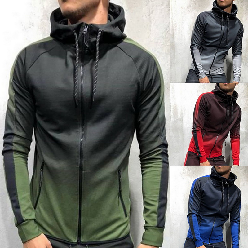Splashing Zipper Sportswear Men's Suit Sports 2 Sets Of Sportswear Men's Gradient Print Hooded Hoodie Jacket Pants Sportswear