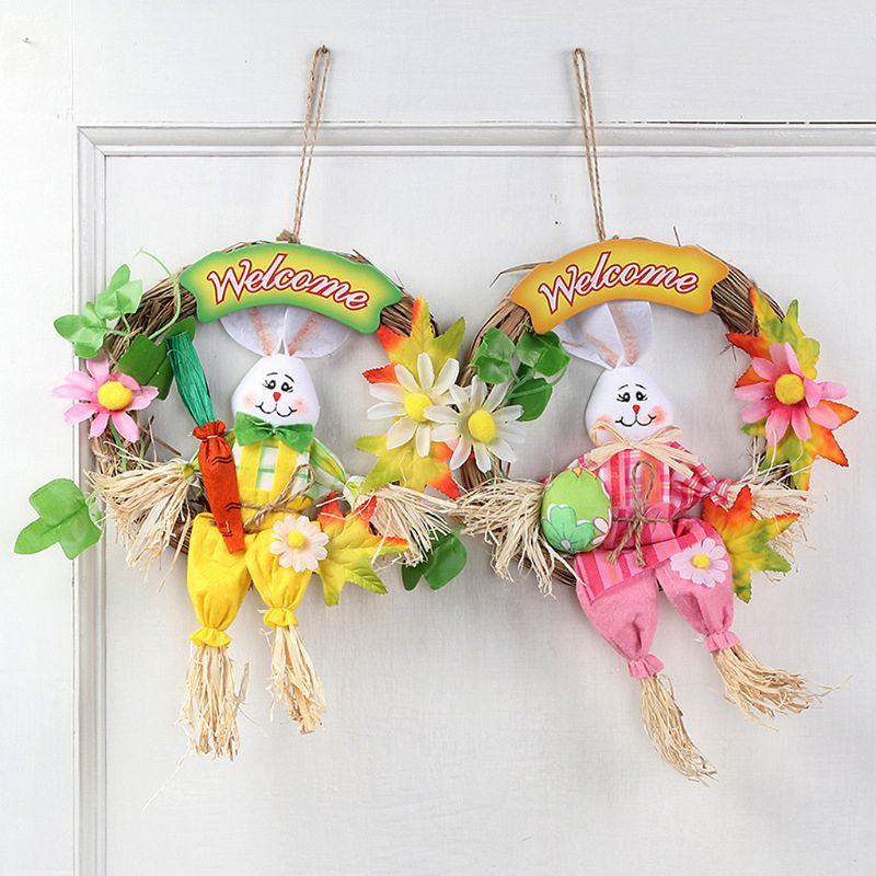 Creative Straw Garland Cute Rabbit Easter Door Hanging Wreath font b Home b font Wall Window