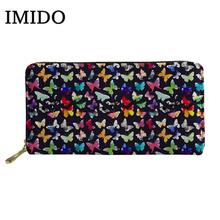 IMIDO motyl drukuje kobiety długie portfele damskie moda kolorowe sprzęgła kiesa panie portfel na zamek dziewczyna monety posiadacz karty torba tanie tanio zipper Kieszonka na monety Wnętrza przedziału Wewnętrzna kieszeń Wnętrze slot kieszeń Standardowe portfele 20cm Cartoon