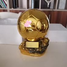Hot sale ballon DoR trophy golden ball Trophy Final Shooter Players Electroplated Golden ball cup Award