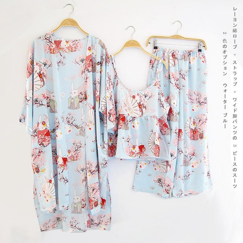 Woman   Pajamas     Set   Sling Cotton   Pajamas   3 Peices Sleepwear For Women Sleeveless Breathable Cute Flower Print Nightwear