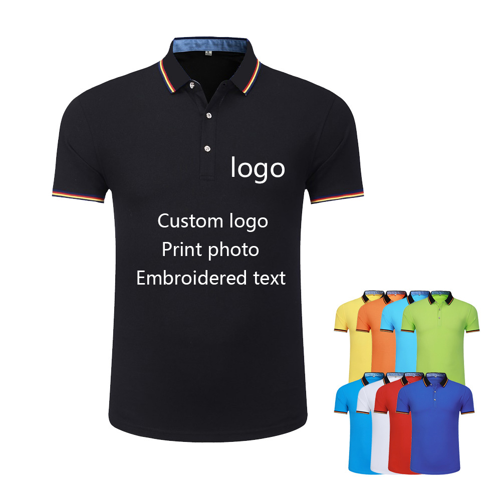 US $7.0 |Men and women striped lapel polo shirt custom short sleeved overalls embroidery text factory clothing printed logo on AliExpress