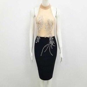 Image 3 - Женское вечернее платье с сеткой, черное или белое коктейльное облегающее платье в стиле Звезд, для ночного клуба, оптовая продажа, 2020