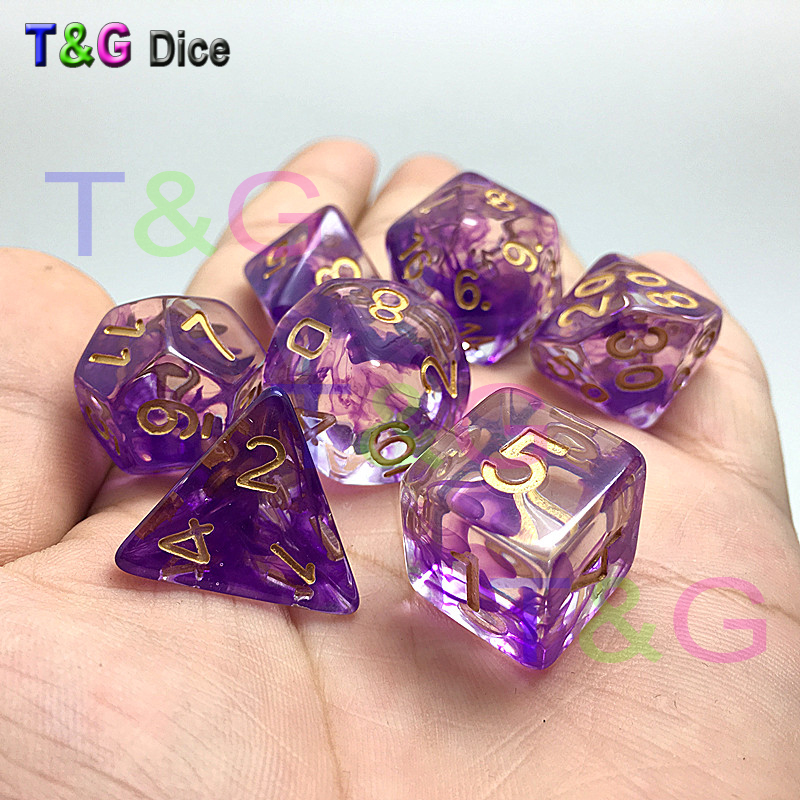 Brand New Dice Polyhedral Nebula Set of 7 for D&d Game plus POUCH BAG d4 d6 d8 d10 d12 d20 dice set Gift Toy