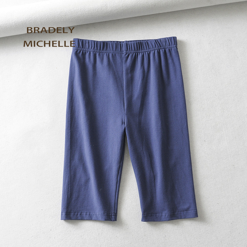 BRADELY MICHELLE sexy women cotton high waist elastic pure color slim Knee-Length bikeshorts leggings female 4