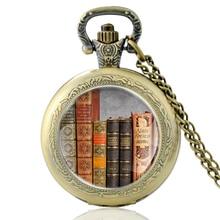 High Quality Vintage Books Glass Dome Bronze Quartz Pocket Watch Classic Men Women Antique Necklace Pendant Gifts