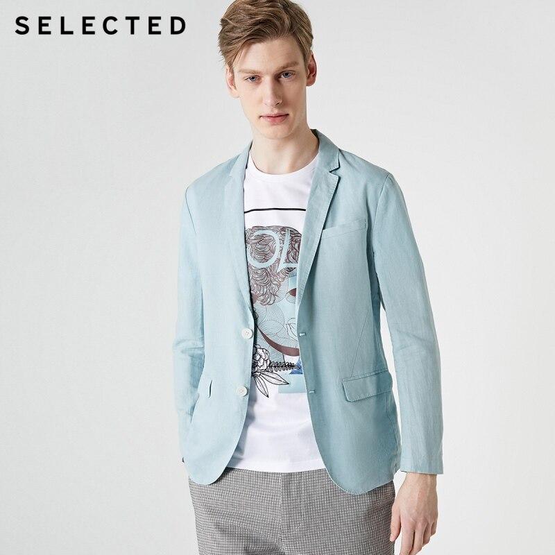 SELECTED Men's Cotton & Linen Blended Slim Fit Blazer Jacket S|419208512