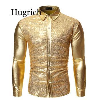 Gold Patchwork Sequin Glitter Shirt Men 2020 Fashion Shiny Night Club Wear Mens Dress Shirts Party Prom