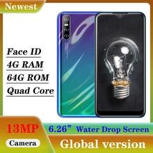 Globale Note10 4GB RAM 64GB ROM Wasser Tropfen Bildschirm Quad Core Smartphones Android Handys Gesicht Entsperrt Celular 6.26