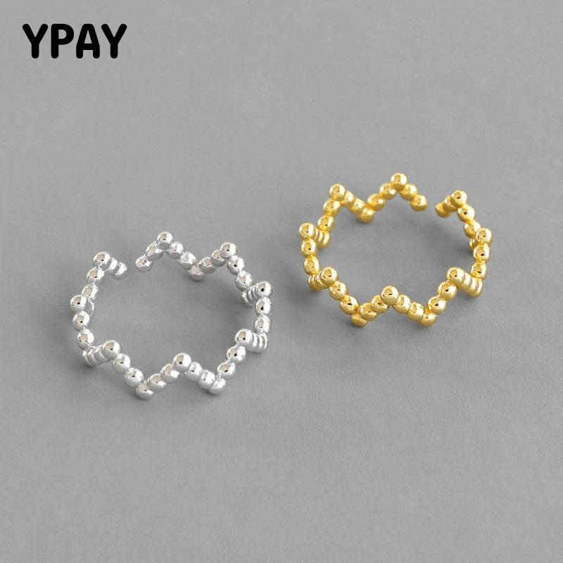 YPAY 100% Pure 925 Sterling Silver Open Rings For Women Korea INS Round Beads Wave Adjustable Finger Ring Fine Jewelry YMR1027