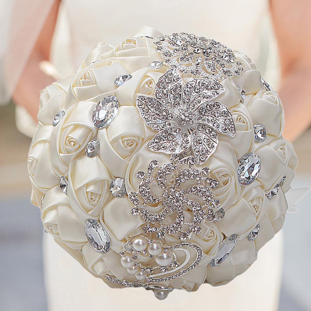 Горячая Распродажа, роскошный шикарный свадебный букет невесты, элегантный жемчужный букет невесты для свадебного букета со стразами, блес...