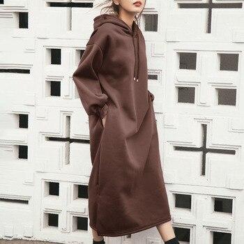 Hooded Hoodies Dress Sweatshirt Korean 2019 Autumn Winter Women Sweatshirts Long Sleeve Sweatshirt Hoody Pullovers Long Dress contrast sleeve tape detail sweatshirt dress