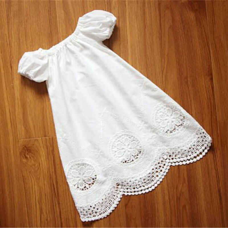New Summer Toddler Kids Baby Girls Short Sleeve Hollow Out Lace Dress Fashion Casual Princess Outfits