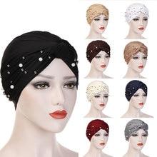 Мусульманский хиджаб тюрбан головной убор шляпа Мода Жемчуг в африканском стиле головная повязка, аксессуары для волос женщин Твердые плетеные банданы головной убор