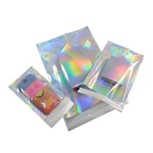 Pochette adhésive hologramme en aluminium 100 pièces, sacs de rangement de courrier, enveloppe Poly de courrier, pochettes de livraison postale