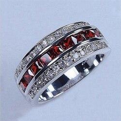 Męskie Deluxe 10K białe złoto księżniczka-cut Rudy Garnet kryształowy kamień pierścień obrączki dla kobiet mężczyzn biżuteria